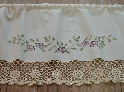 Cream Hand Crochet Lace French Country Kitchen Cafe Window Curtain Valance