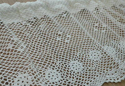 "60"" White Hand Crochet Lace Kitchen Cafe Window Curtain Valance 16"" length"