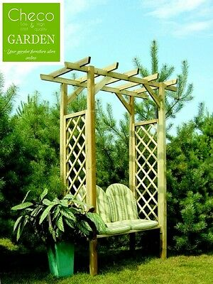 Wooden Arbour With Bench, Pergola, Pressure Treated