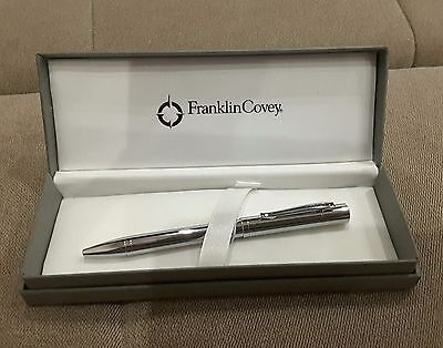 Fc0022-2 Franklin Covey Greenwich Pure Chrome Roller Pen With Present Box Cross