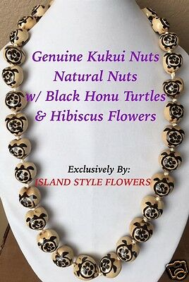 Hawaii Wedding NATURAL Kukui Nut Lei Graduation Necklace Hibiscus Turtle BLACK