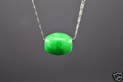 NATURAL GREEN Jade Carved Chinese Lucky Barrel Pendant With Necklace -Nice-