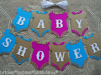 10 Bunting Flags Banners Garland Onesies  BABY SHOWER Coloured Unisex DIY C7