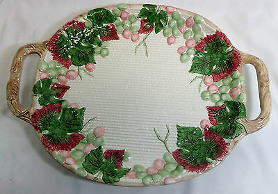Fitz and Floyd 1988 Large Serving Tray With Handles Grapes Leaves Design