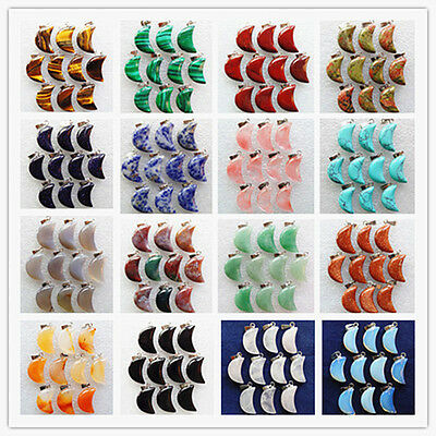 10pcs Wholesale Carved Mixed Gemstone Moon Pendant Bead GL020