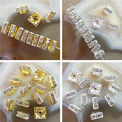 50pcs Plated-gold/silver Square Rhinestone Crystal Spacer Bead GL023