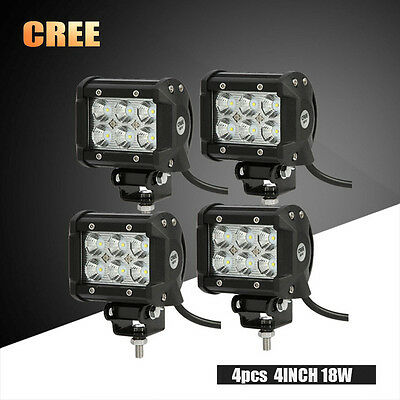 4x 18W 4inch LED WORK LIGHT CREE FLOOD PODS ATV OFFROAD REVERSE JEEP BUMPER BOAT
