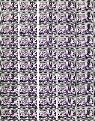1948 - CALIFORNIA GOLD - Vintage Mint Sheet of 50 U.S. Postage Stamps