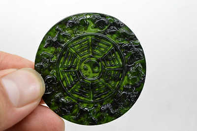 100% China's natural  jade nephrite carving black jade pendant 12 zodiac