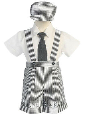 Baby Toddler Charcoal Boys Striped Seersucker Suspender Shorts Set Outfit G822