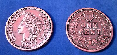 """REPLICA 1877 Indian Head Penny Cent BIG HUGE 3"""" COIN REPLICA paperweight etc."""