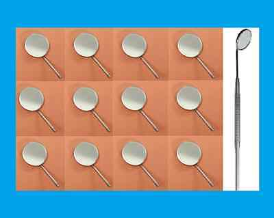 12 Dental Mouth Mirrors Front Surface 5 # Rhodium Coated, with One Handle free