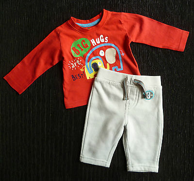 Baby clothes BOY 0-3m red elephant top long sleeve/F&F soft grey trousers
