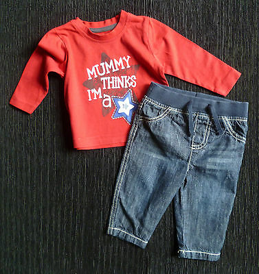 Baby clothes BOY 3-6m outfit long sleeve t-shirt/denim jeans/trousers SEE SHOP!
