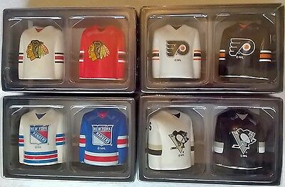 NHL Team Jersey Ceramic Salt and Pepper Shakers - Choose your team