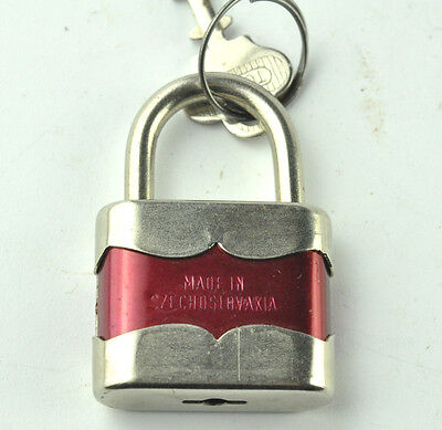 Vtg Rare Original Czechoslovakia Duplo 35 Tokoz-2 Red Padlock With Key