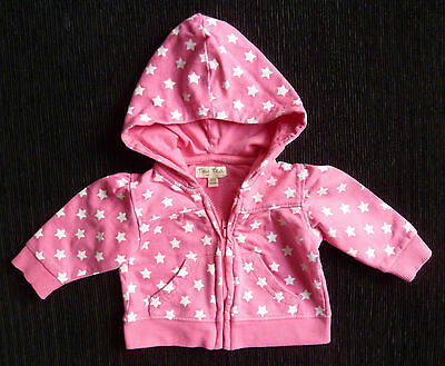 Baby clothes GIRL newborn 0-1m Tiny Ted pink/white star sweatshirt hood jacket