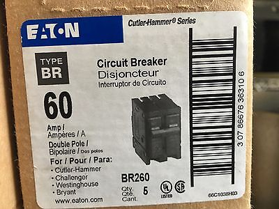 Eaton Cutler Hammer BR260 60 Amp Circuit Breaker 120/240V 2-Pole NEW - Free Ship