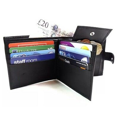 Mens Quality Genuine Black Leather Wallet Credit Card Holder Coin Pouch Purse104