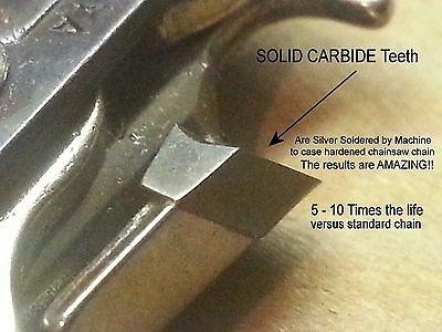 """SOLID CARBIDE Chainsaw Chain for 20"""" Husqvarna H80-72GX 501846572 Type 72 VIDEO"""