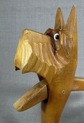 Antique Scottish Terrier Scotty Dog Carved Wooden Treen Figural Nutcracker Tool