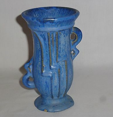 Fulper Blue Flambe Glaze Two Handled Vase (Glaze Pops)