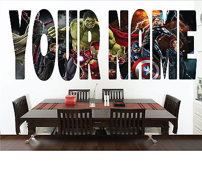 Personalised Avenger Name Wall sticker decal for kids Boys room-WBR1