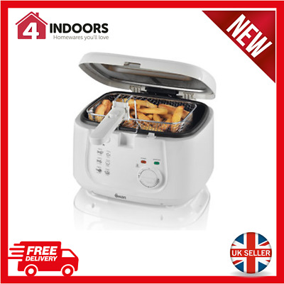 Swan SD6080N Square Deep Fat Fryer - 2.5L Cool Touch Handles - White - Brand New