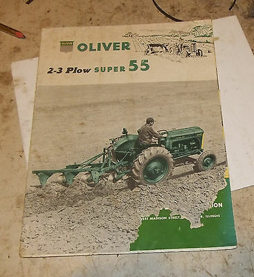 Oliver 2-3 plow Super 55  Tractor Sales Brochure poor condition foldout poster