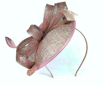 Large Mocha Coloured Feather Hatinator Fascinator Aliceband Headband Ladies 33