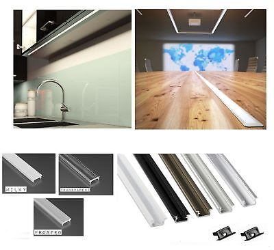Aluminium Profile Recessed 5 colours 1M for LED Light Strip with Cover + Caps