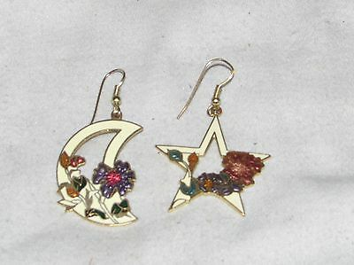 Vtg Metal Sculpture Enameled Cloisonne Style Dangle Earrings Star Moon Flowers