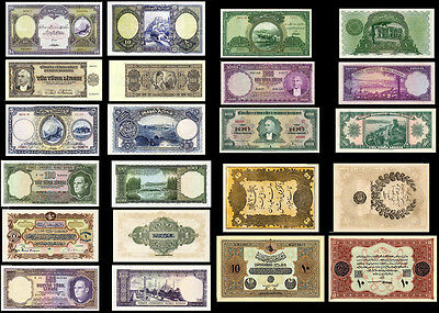 !copy! 11 Very Beautiful Old Turkey Banknotes !not Real!