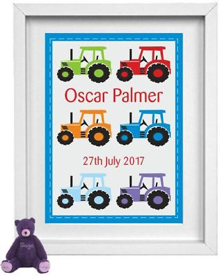 BABY BOY | Personalised Picture | Tractor | Christening Gift | FREE POST |NP048