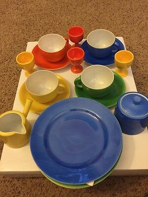 Vintage 18 Pc Set Japanese China Fiesta Breakfast Set 1930's Bold Color