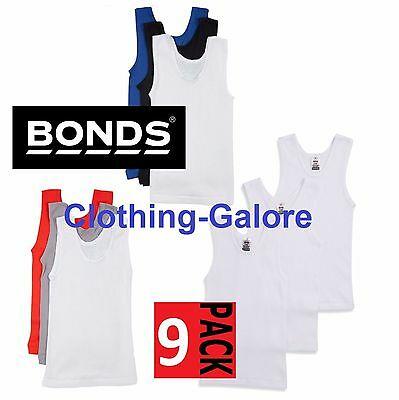 Bonds Boys Kids 9 Pack Chesty Cotton Blue Navy White Red Boy's Singlets Sz 3-16