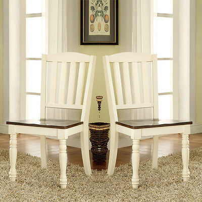 Harrisburg Set of 2 Dining Side Chair Wooden Seat Solid Wood Vintage White Oak