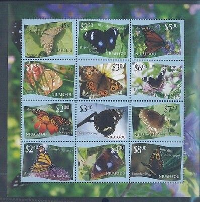 2012 Tonga Niuafo'ou Butterflies Postage Stamp Sheet #287 Mint Never Hinged VF
