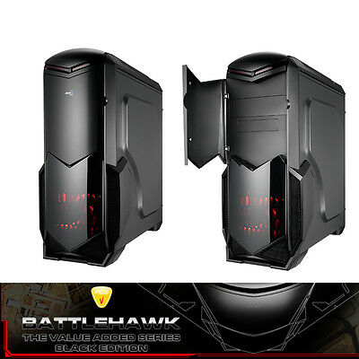 Aerocool Battlehawk ATX Mid-Tower Gaming Computer PC Case Black, NO PSU