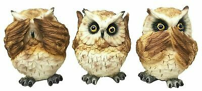 "Nocturnal See Hear and Speak No Evil Owl Small 4""h Figurine Set Statue Decor"