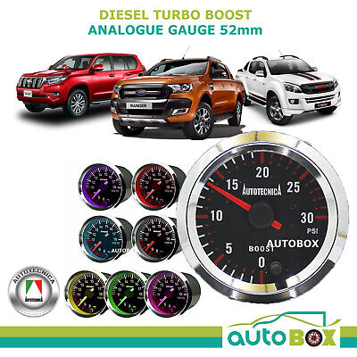 DIESEL TURBO BOOST 52mm 0-30PSI  Black Face Analogue Gauge Autotecnica 7 Colours