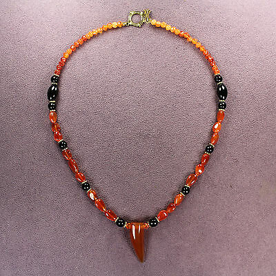 PASSION POWER STONE NECKLACE Genuine Carnelian Black Red Agate Attraction Totem