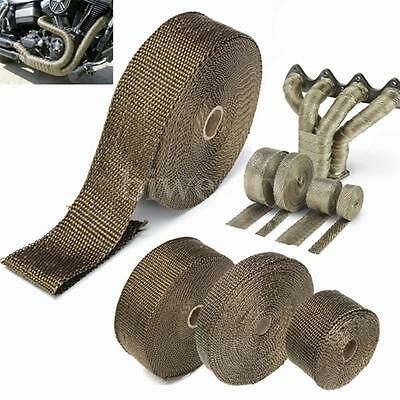 "2""x5M Titanium Exhaust Heat Wrap Roll Cable Pipe Tape With 6 Stainless Ties Kit"