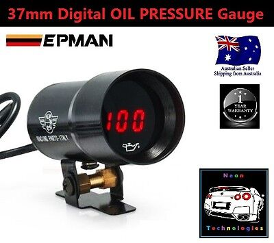 37mm Digital OIL PRESSURE Gauge *RED LED* Turbo R32 R33 R34 180SX 200 V8 SS SV6*