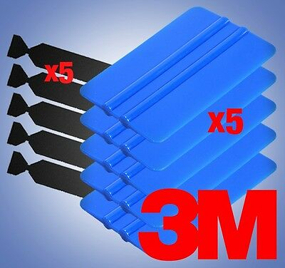 5 x 3M Blue Squeegees 5 x Black Felt Edge Decals