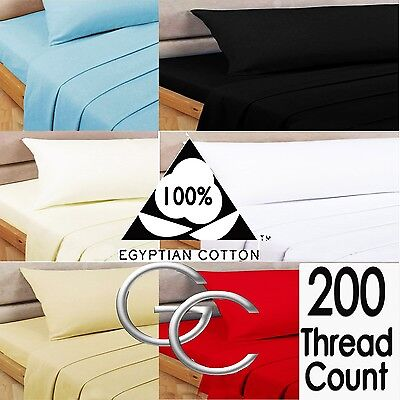 New 100% Egyptian Cotton 200 Thread Count Fitted & Flat Sheets And Pillowcases