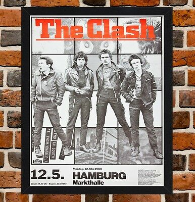 Framed The Clash Concert Poster A4 / A3 Size Mounted In Black / White Frame