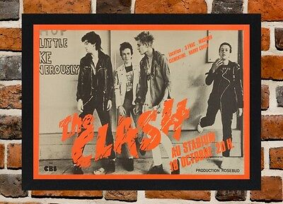 Framed The Clash Concert Poster A4 / A3 Size Mounted In Black / White Frame .