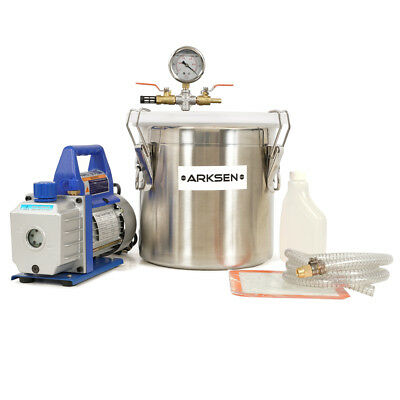 3-Gallon Vacuum Chamber Stainless Steel Solvent Extract w/ 1/3HP 3CFM Pump Set