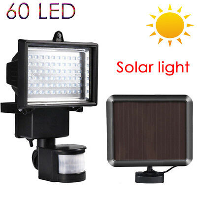 60 Led Solar Power Rechargeable Pir Motion Sensor Security Lamp Light Garden